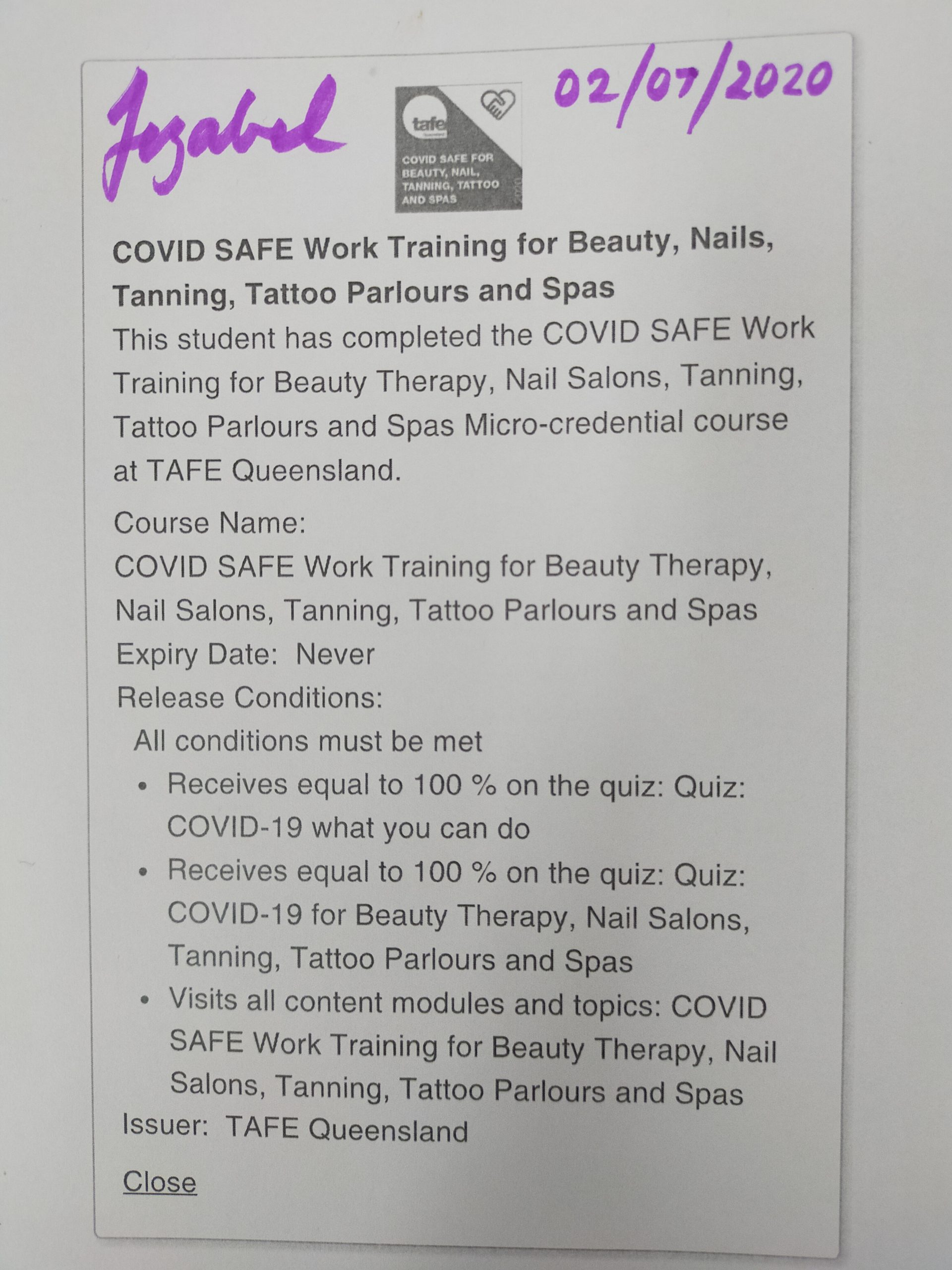 Covidsafe Work Training